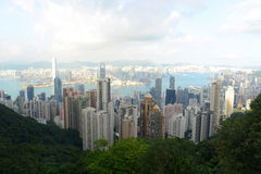 Hong Kong Skyline and Victoria Harbour at dusk Royalty Free Stock Photos