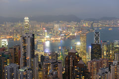Hong Kong Skyline and Victoria Harbour at dusk Stock Photo