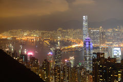 Hong Kong Skyline and Victoria Harbour at night Royalty Free Stock Images