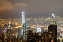 Hong Kong Skyline and Victoria Harbour at night Royalty Free Stock Photo