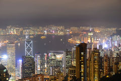 Hong Kong Skyline and Victoria Harbour at night Royalty Free Stock Photos