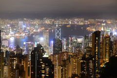 Hong Kong Skyline and Victoria Harbour at night Royalty Free Stock Image