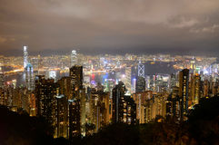 Hong Kong Skyline and Victoria Harbour at night Stock Images