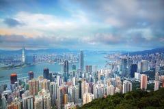 Hong Kong skyline from Victoria Peak Royalty Free Stock Photos