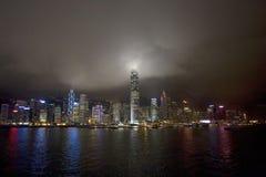 Hong Kong Skyline vid natt, Kina Royaltyfri Foto