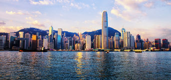 Hong Kong skyline. View of the skyline of Hong Kong island stock photos