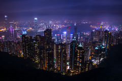 Hong Kong skyline, view from Victoria Peak Royalty Free Stock Photo