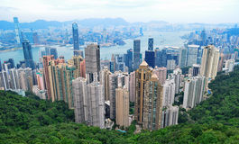 Hong Kong Skyline. View of Hong Kong from Victoria Peak on November 09, 2013 in Hong Kong, PRC royalty free stock images