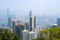 Hong Kong skyline viewed from top Stock Photos
