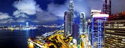 Hong Kong Skylines night. Hong Kong Skylines at finance zone at night Stock Photography