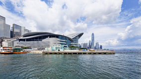 Hong Kong Skylines. Hong Kong Skyline , Wan Chai Waterfront Promenade Stock Photo