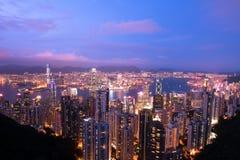 Hong Kong skymning Royaltyfri Bild