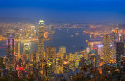 Hong Kong Skyscraper Night Royalty Free Stock Photo