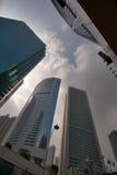 Hong Kong Skyscrapers. Narrow street with skyscrapers in Hong Kong stock photos