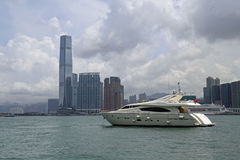 Hong Kong Skyscrapers behind Boat Royalty Free Stock Image