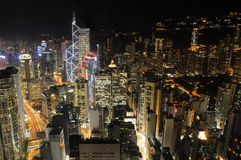 Hong Kong skyscrapers at night Royalty Free Stock Images
