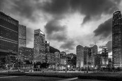 Hong Kong Skyscrapers preto e branco fotografia de stock royalty free