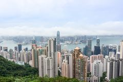 Hong Kong skyscrapers skyline cityscape view from Victoria Peak stock images