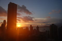 Hong Kong solnedgång royaltyfri foto