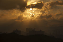 Hong Kong soluppgång royaltyfria foton