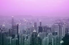 Hong Kong am Sonnenuntergang Lizenzfreie Stockfotos