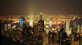 Hong Kong Spectacular. Hong Kong cityscape at night Stock Image