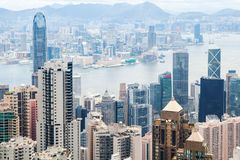 Hong Kong stad, foto som tas från Victoria Peak Arkivfoton