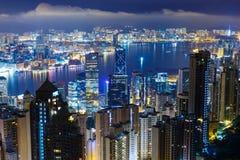 Hong Kong stad vid natt Arkivfoto