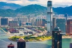 Hong Kong stads- och Victoria hamn Arkivfoto