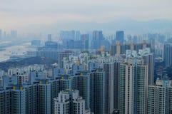 Hong Kong-stadsmening van hoogste heuvel Royalty-vrije Stock Foto