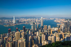 Hong Kong-stadsmening van piek stock afbeelding
