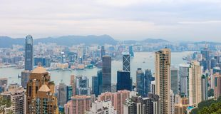 Hong Kong-Stadtansicht an der Dämmerung Lizenzfreies Stockfoto