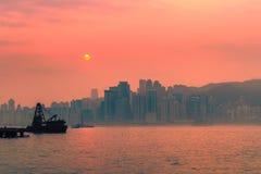 Hong Kong-Stadtansicht von Kowloon bei Sonnenaufgang Lizenzfreies Stockbild