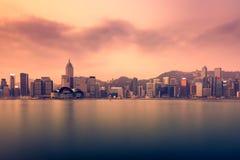 Hong Kong-Stadtansicht von Kowloon an der Dämmerung Stockfoto