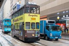 Hong Kong-Stadtbildansicht mit doppelstöckiger elektrischer Tram Stockfotos
