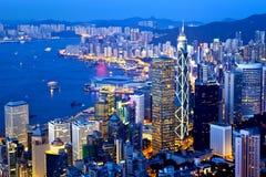 Hong Kong-Stadtnachtansicht an der Spitze Stockfotos
