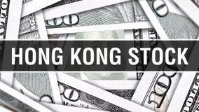 Hong Kong Stock Closeup Concept Dólares americanos de dinero del efectivo, representación 3D Hong Kong Stock en el billete de ban ilustración del vector