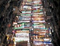 Hong Kong-straatmarkt bij nacht stock afbeeldingen