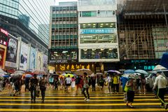 HONG KONG-STRASSEN-ANSICHT IN REGEN Lizenzfreie Stockfotografie