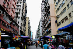 Hong Kong street. A crowded market street in Hong Kong's Kowloon Royalty Free Stock Photos