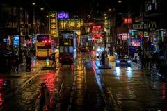 Hong Kong Street día y noche 2016 fotos de archivo