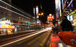 Hong Kong Street by night. Hong Kong, since 1997 a special administrative regions (SARs) of the People's Republic of China, is one of the world's leading stock image