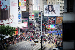 Hong Kong Street Scene. The busy streets of Hong Kong during the day in Causeway Bay Stock Image