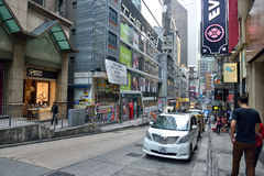Hong Kong Street View. In Central, the downtown area of Hong Kong Royalty Free Stock Image