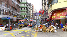 Hong kong street view : fa yuen street, mongkok Royalty Free Stock Images