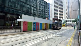 Hong Kong Street View. Tram waiting at the station in Central, downtown area of Hong Kong Royalty Free Stock Photography