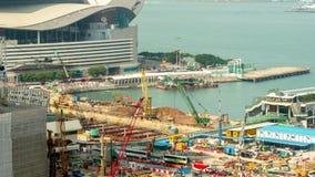 Hong Kong summer day construction port bay panorama 4k time lapse china stock footage