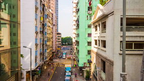 Hong kong sunny day living block traffic street rooftop panorama 4k time lapse china stock video footage