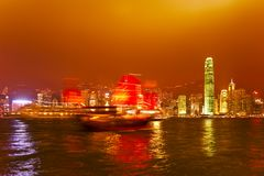 Hong Kong at sunset. Modern Skyline of Hong Kong at sunset Stock Image