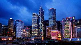 Hong Kong Sunset Cityscape Timelapse. stock footage